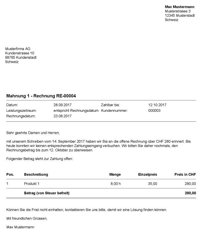 Mahnung Vorlage Für Die Schweiz Bexio