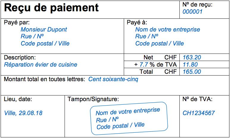 Modele De Quittance Exemple De Recu De Paiement Bexio