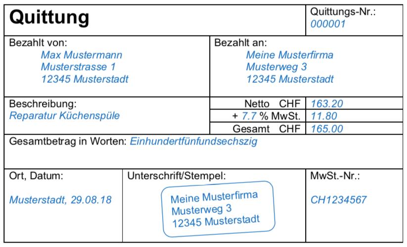 Quittung Vorlage Für Die Schweiz Gratis Herunterladen Bexio